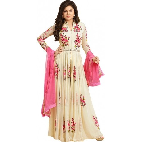 Drashti Dhami Beige Floral Printed Anarkali Suit