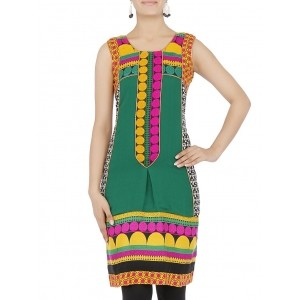 18 Fire Dark Green Printed Sleeveless Kurta