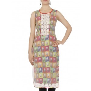 18 Fire Multicolored Printed Sleeveless Georgette kurta