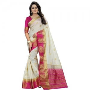 Saarah White Embellished Bhagalpuri Art Silk Saree