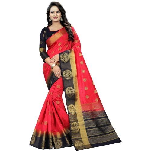 Saarah Red Embellished Jamdani Art Silk Saree
