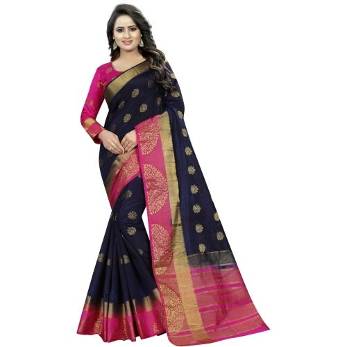 Saarah Navy Blue Embellished Garad Art Silk Saree