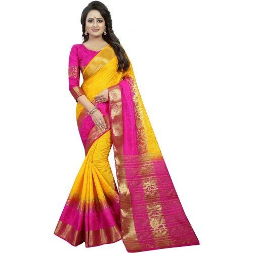 Saarah Yellow And Pink Embellished Kanjivaram Art Silk Saree