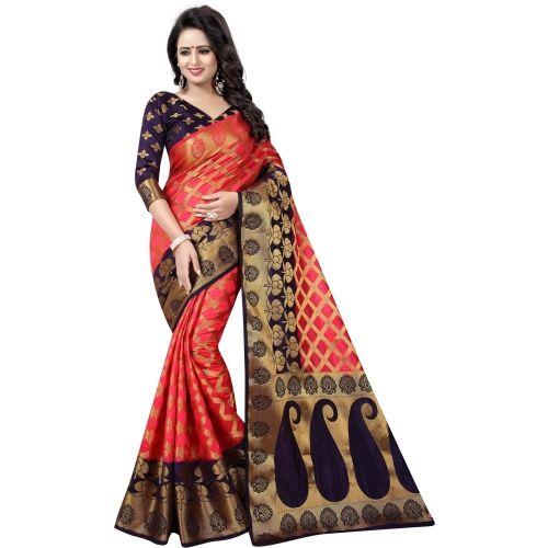 Saarah Orange & Blue Checkered Kanjivaram Art Silk Saree