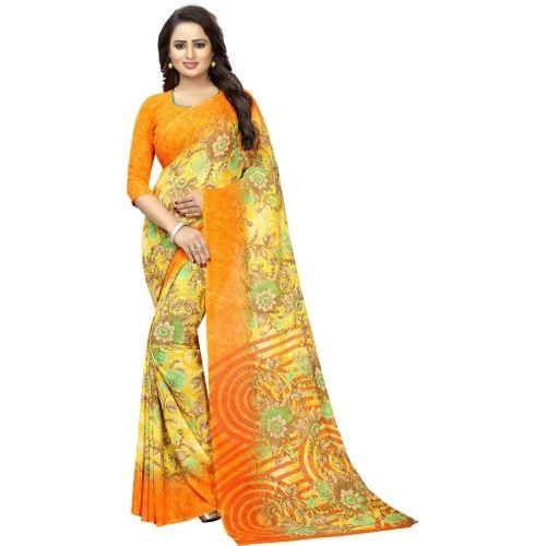 Saarah Yellow Floral Print Fashion Crepe Saree
