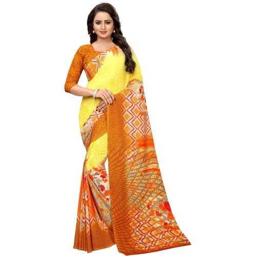 Saarah Yellow Printed Fashion Crepe Saree