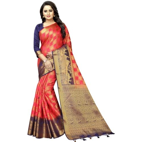 Saarah Blue Self Design Kanjivaram Art Silk Saree