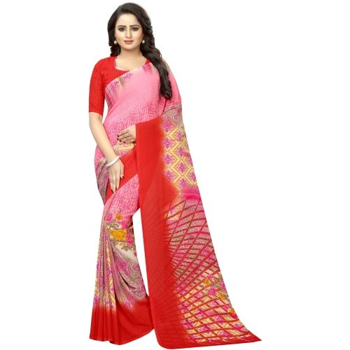 Saarah Red Printed Fashion Crepe Saree