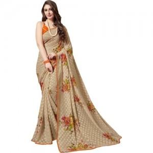 Gaurangi Creations Beige Brasso Floral Print Saree