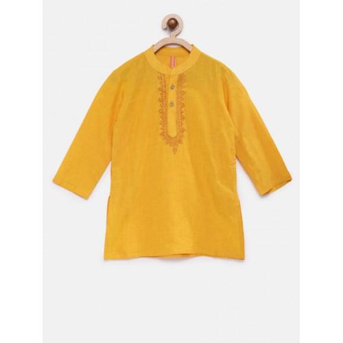 Ethnicity Yellow Solid Straight Kurta