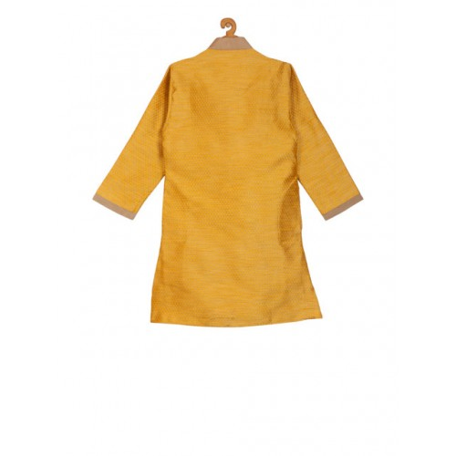 KISAH Yellow & Camel Brown Embroidered Straight Kurta