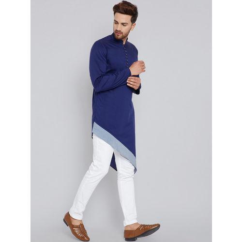 See Designs Men Blue Solid Straight Kurta