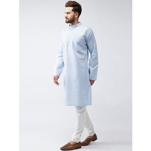 SOJANYA Men Blue Woven Design Straight Kurta