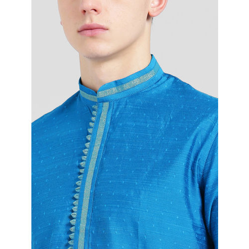 KISAH Men Blue Woven Design Straight Kurta