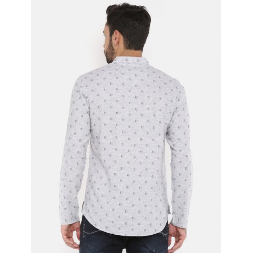 The Indian Garage Co Grey Printed Straight Kurta