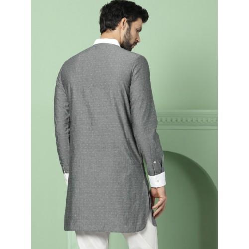 House of Pataudi  Grey Woven Design Straight Kurta