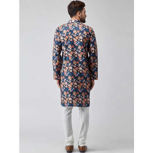 SOJANYA Men Blue & Orange Printed Straight Kurta