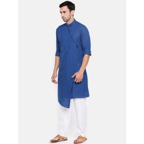 The Indian Garage Co Men Blue Solid Straight Kurta