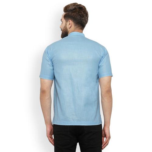 akavya Men Blue Solid Straight Kurta