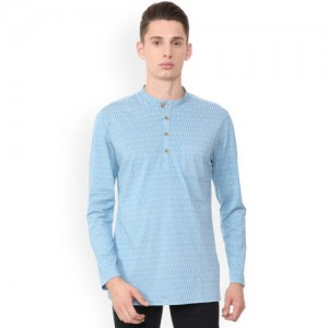 Peter England Men Blue Printed Straight Kurta