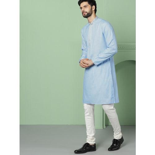 House of Pataudi Men Blue Solid Straight Kurta