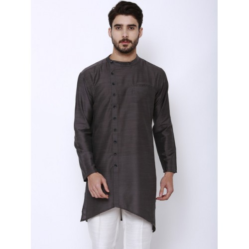Svanik Grey Solid Straight Kurta