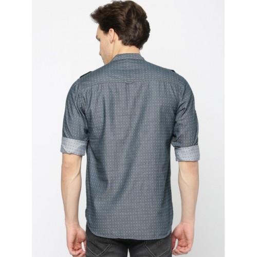 The Indian Garage Co Grey Woven Design Straight Kurta