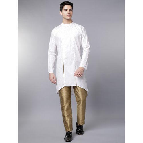 Svanik White & Gold Printed Blended Kurta