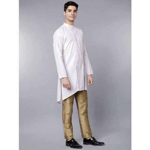 Svanik White & Gold Printed Blended Kurta