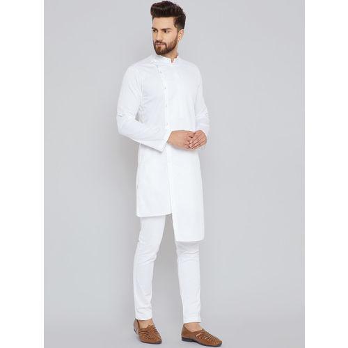 See Designs White cotton Solid Straight Kurta