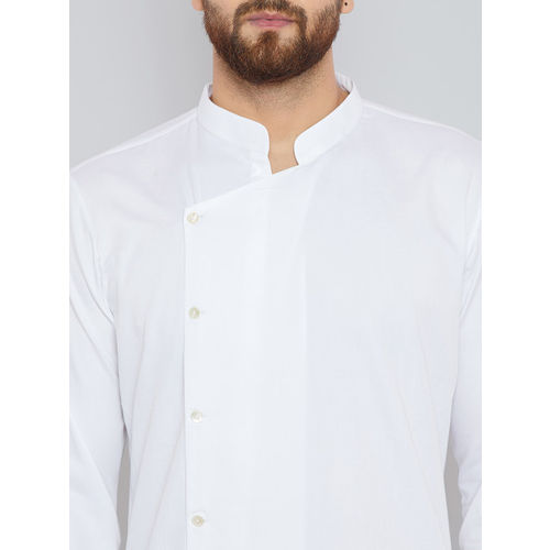 See Designs Men White Solid Straight Kurta