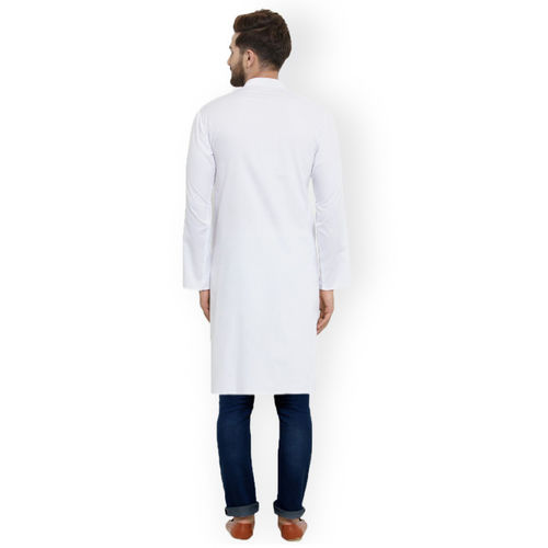 Jompers Men White Solid Straight Kurta