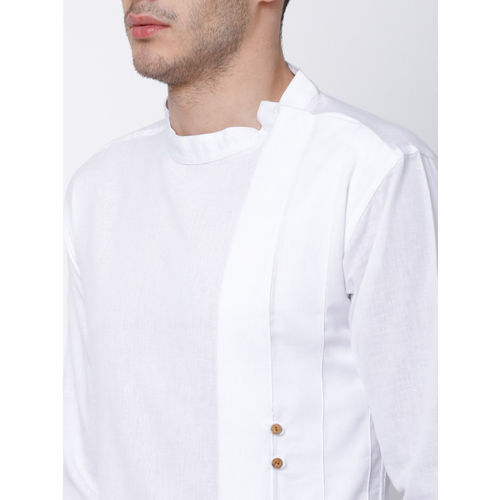 Svanik Men White Solid Straight Kurta