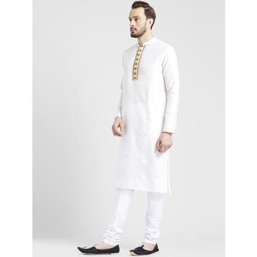 KISAH Men White Woven Design Straight Kurta