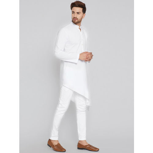 See Designs Men White Solid A-Line Kurta