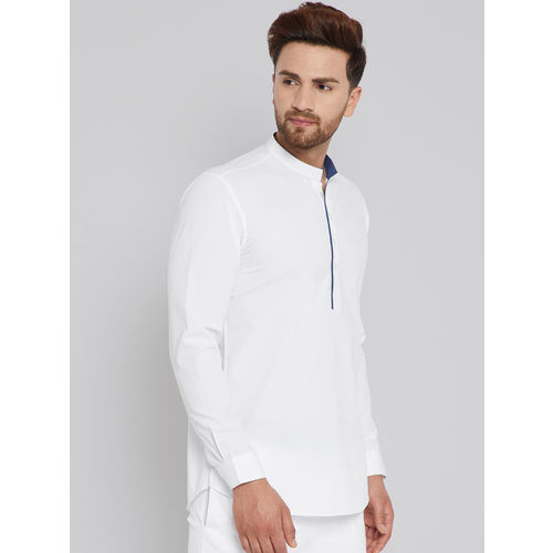 See Designs White cotton Solid Straight Cotton Kurta