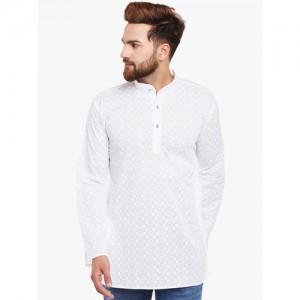 SOJANYA Men White Embroidered Straight Kurta