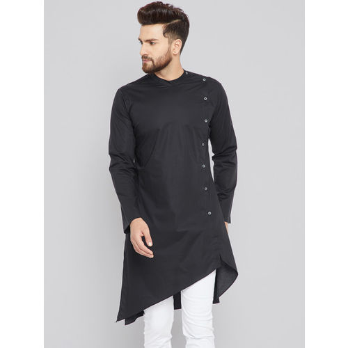 See Designs Black cotton Solid Straight Kurta