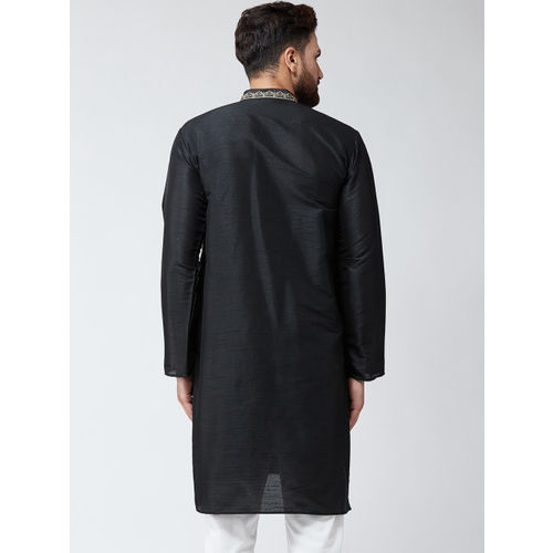 SOJANYA Men Black Embroidered Straight Kurta
