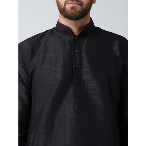 SOJANYA Men Black Solid Straight Kurta