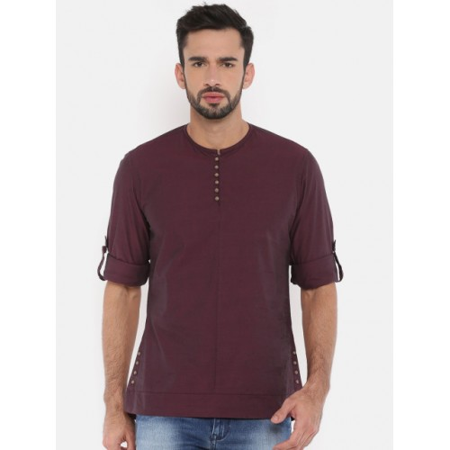 The Indian Garage Co Maroon Solid Straight Kurta