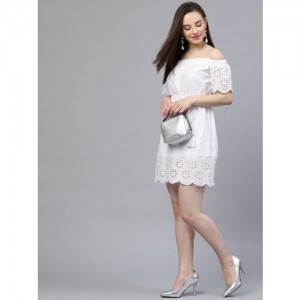 STREET 9 White Schiffli Embroidered A-Line Dress