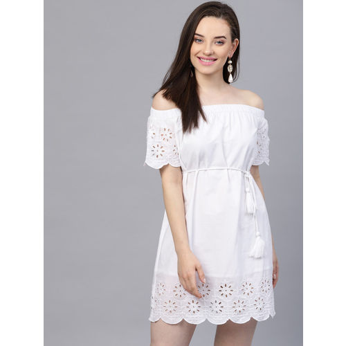 STREET 9 White Cotton Floral  Embroidered A-Line Dress