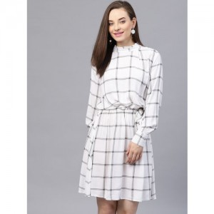 STREET 9 White & Black Checked Blouson Dress