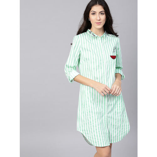 a368cc1c5475 Buy STREET 9 Women White & Green Striped Shirt Dress online ...