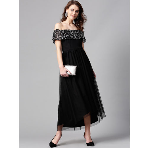 STREET 9 Women Black Embellished Detail Net Maxi Dress
