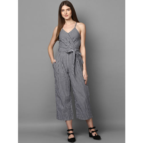 STREET 9 White & Black Checked Culotte Jumpsuit