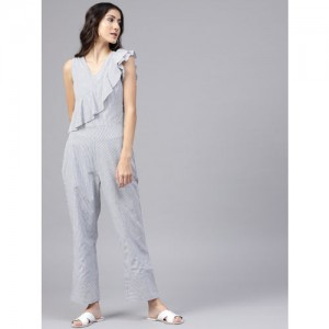 STREET 9 White & Blue Striped Basic Jumpsuit