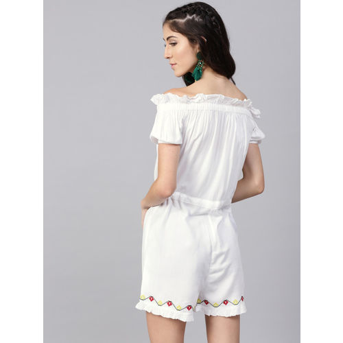 STREET 9 White & Red Solid Playsuit