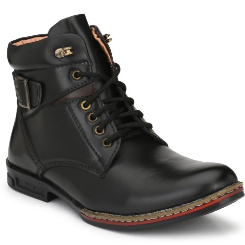 Brayan Adam Black Synthetic Lace Up Boots